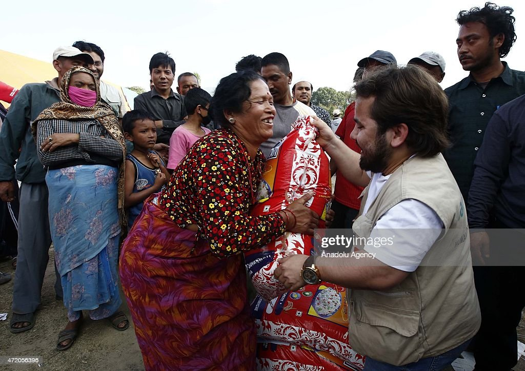 Turkish humanitarian relief association distributes food in Nepal : News Photo