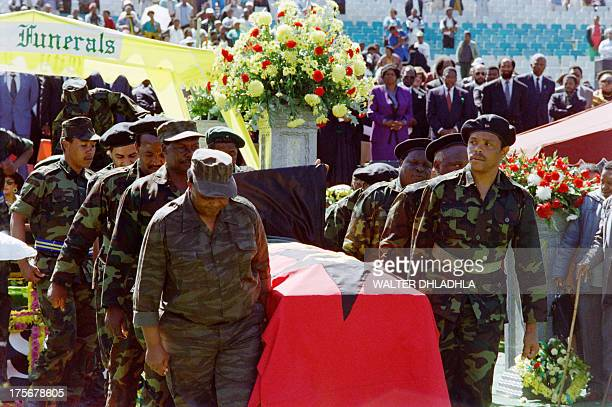 Members of Umkhonto we Sizwe the ANC military wing carry the coffin of the assassinated South African Communist Party leader Chris Hani at the vigil...