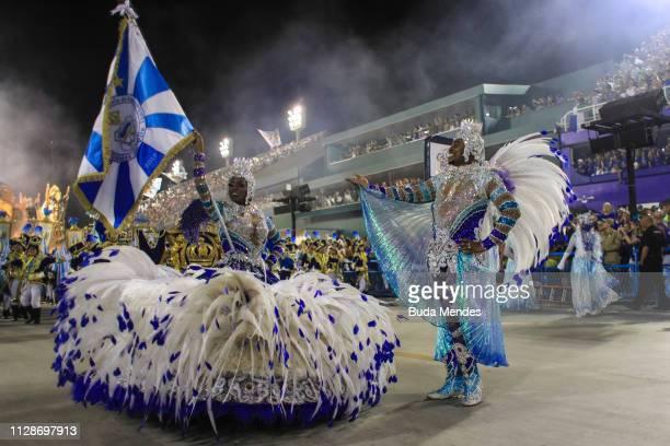Members of Unidos de Vila Isabel Samba School perform during the parade at 2019 Brazilian Carnival at Sapucai Sambadrome on March 04 2019 in Rio de...