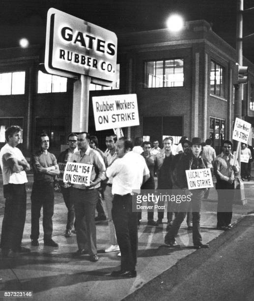Members of United Rubber Workers Local 154 are posted on picket Line Strikers are at Gates Rubber Co 999 S Broadway Other plants were also picketed...