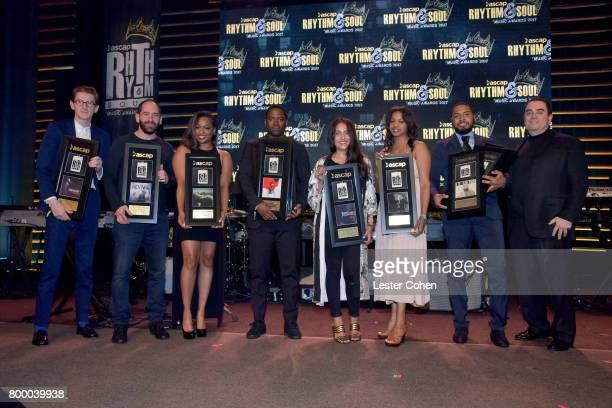 Members of Universal Music Publishing pose with awards at the ASCAP 2017 Rhythm Soul Music Awards at the Beverly Wilshire Four Seasons Hotel on June...