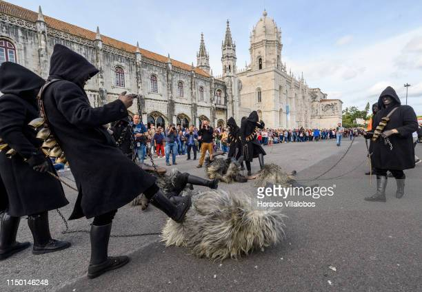Members of Urthos e Buttudos Sardinia Italy perform at the Iberian Mask Parade by Jeronimos Convent and Praca do Imperio during the XIV International...