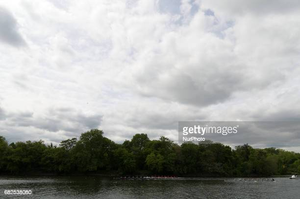 Members of US and Canadian collegiate rowing teams compete in the Olympic length of 2000 meters of the DAD Vail Regatta on the Schuylkill River in...