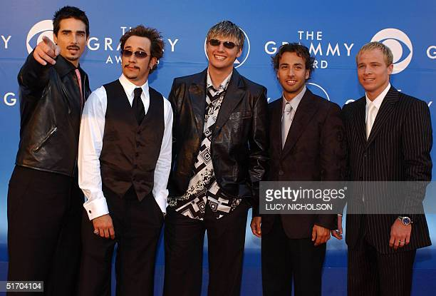 Members of US pop group The Backstreet Boys arrive at the 44th Annual Grammy Awards in Los Angeles CA 27 February 2002 The Backstreet Boys are...