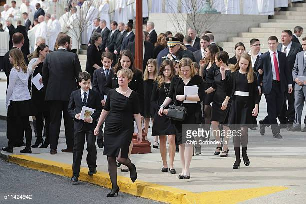 Members of US Supreme Court Associate Justice Antonin Scalia's family leave the Basilica of the National Shrine of the Immaculate Conception...