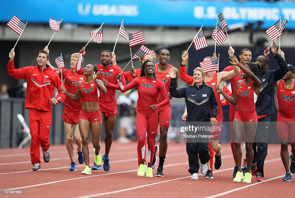 Members of USA Olympic team display the new Nike team outfits on day seven of the U.S. Olympic Track & Field Team Trials at the Hayward Field on June 28, 2012 in Eugene, Oregon.