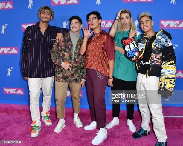 Members of USCanadian pop bankd PRETTYMUCH Zion Kuwonu Nick Mara Brandon Arreaga Edwin Honoret and Austin Porter attend the 2018 MTV Video Music...