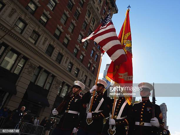 Members of USMC take part in the annual Veterans Day Parade on November 11 2016 in New York City Known as 'America's Parade' it features over 20000...