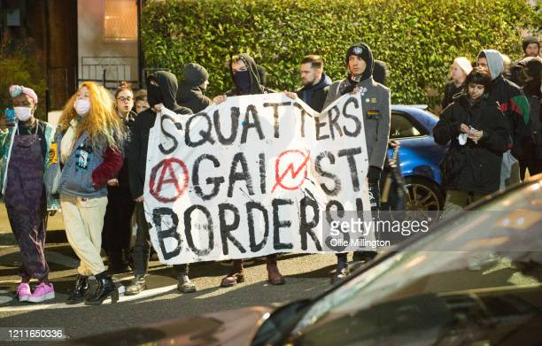 Members of various Anti-Fascist Antifa groups rallying in protest outside the Greek Embassy under the banner of Migrant Solidarity in response to...