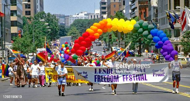 Members of various Gay and Lesbian groups walk south on Connecticut Ave on their way to Freedom Plaza during the Lesbian and Gay Freedom Festival...