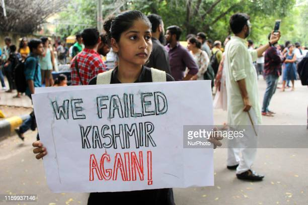 Members of various Left parties and their supporters protest against the scrapping of Article 370 of the Constitution and the proposed bifurcation of...