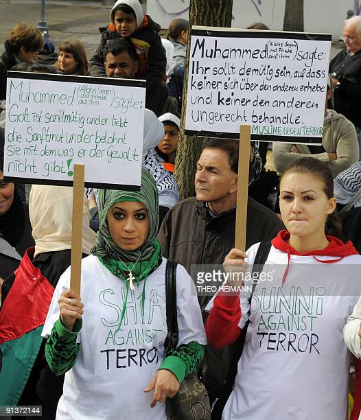 Members of various leftist groups and unions as well as antiracist groups protest during a demonstration against antimuslim racism on October 3 2009...