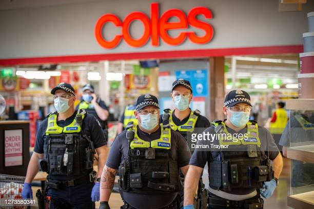 Members of Victoria Police patrol through Chadstone Shopping Centre on September 20, 2020 in Melbourne, Australia. Anti-lockdown protesters have been...