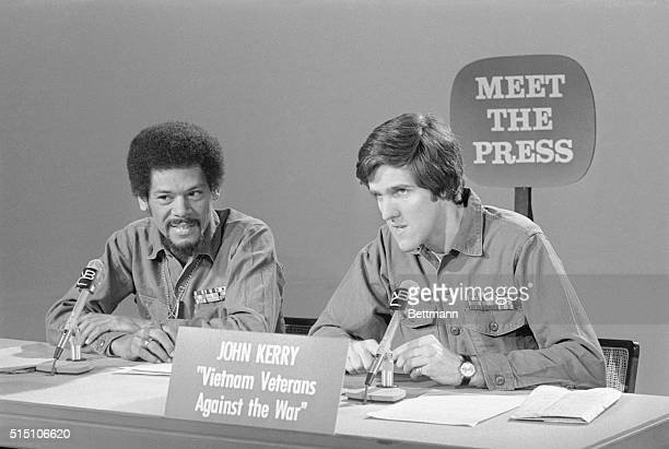 Members of Vietnam Veterans Against the War Al Hubbard a former Air Force Captain and John Kerry a former Navy Lieutenant appear on Meet the Press on...