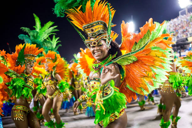 Brazilian colorfully-dressed women during Rio Carnival