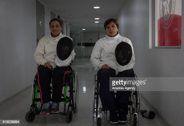 Members of wheelchair fencing team of Archangeles pose for a photo at the Police Center in Bogota Colombia on February 8 2018 One of the first sports...