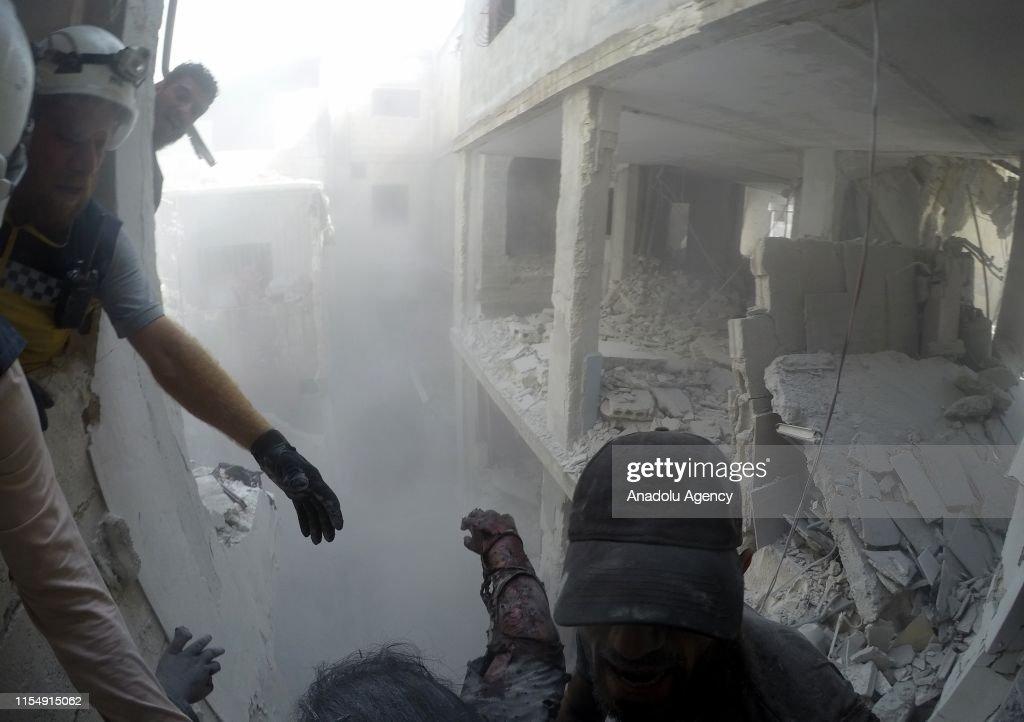 Assad regime hits Syria's Idlib : News Photo