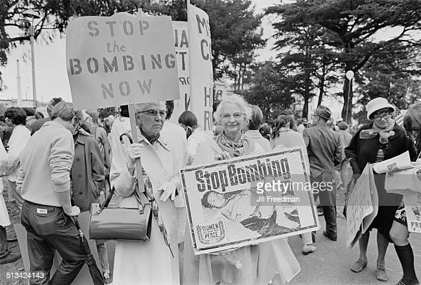 Members of Women Strike For Peace at a demonstration during the Vietnam War USA 1968 One placard reads 'Stop the Bombing Now'