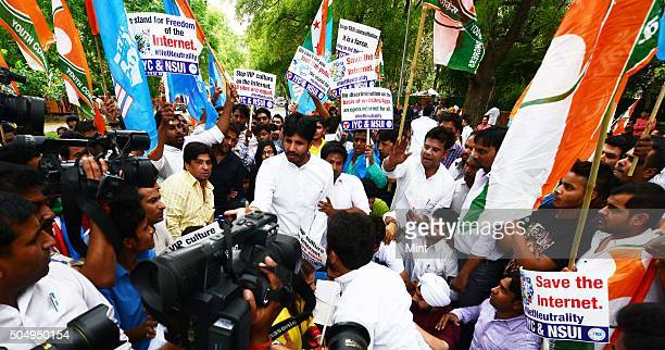 Members of youth Congress and NSUI protesting for the freedom of Internet near Sanchar Bhawan on April 16 2015 in New Delhi India They took out a...