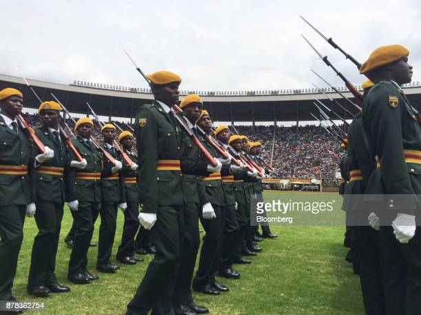 Members of Zimbabwe's presidential guard march in formation during the inauguration ceremony of Zimbabwe's president elect Emmerson Mnangagwa at the...
