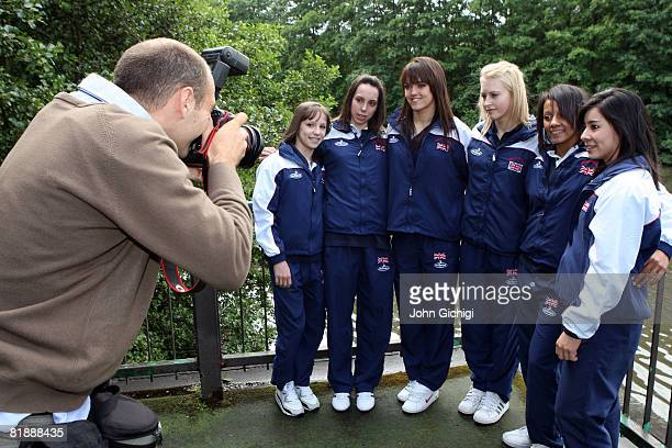 Members ofTeam GB Gymnastics ladies team line up for a photo on June 10 2008 in Birmingham England Hannah Whelan Laura Jones Beth Tweddle Becky...