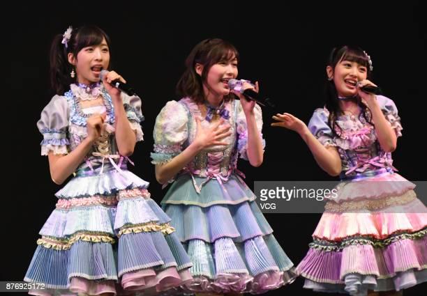 Members Oguri Yui, Mayu Watanabe and Mion Mukaichi of Japanese girl group AKB48 attend AKB48 fans meeting on November 20, 2017 in Shanghai, China.
