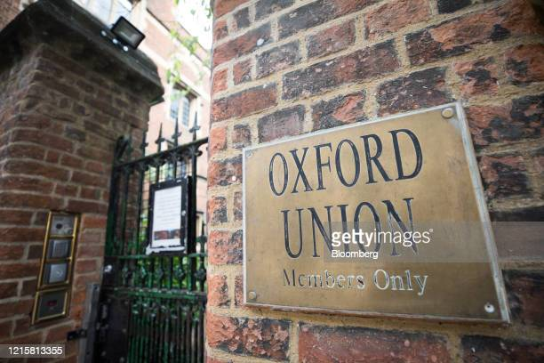 A 'members only' sign hangs on the wall outside the Oxford Union part of Oxford University in Oxford UK on Wednesday May 27 2020 The UK government's...