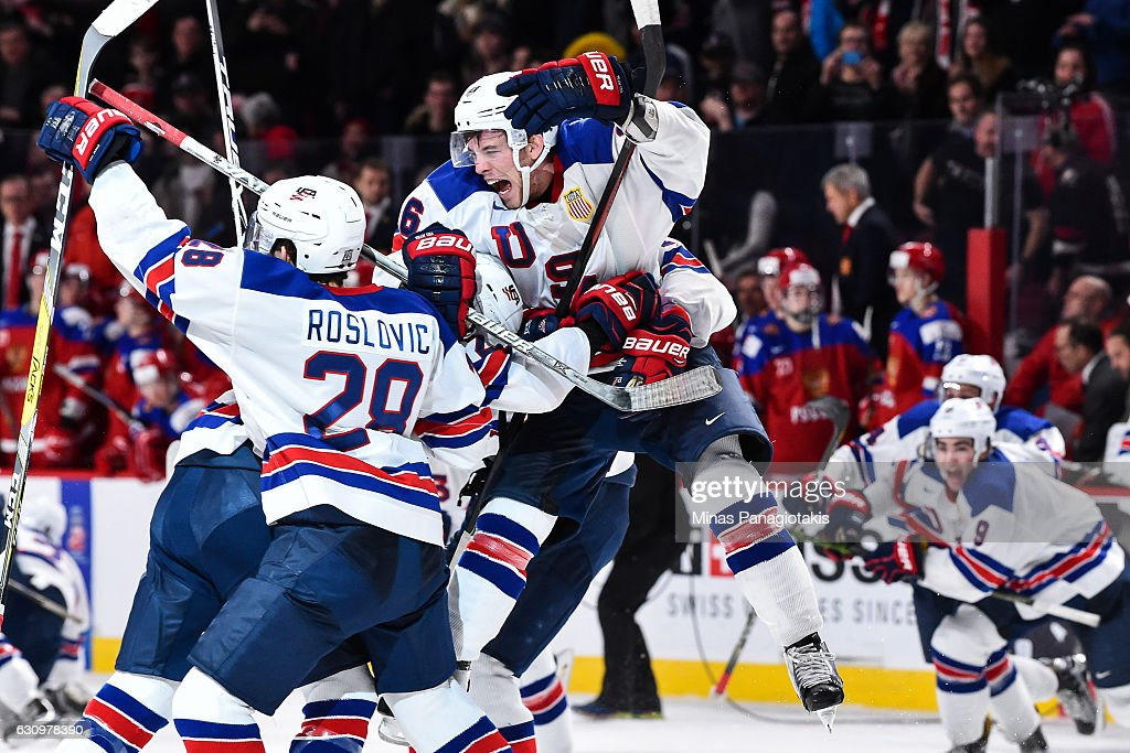 Members or Team United States celebrate their shootout victory during the 2017 IIHF World Junior Championship semifinal game against Team Russia at the Bell Centre on January 4, 2017 in Montreal, Quebec, Canada. The Team United States defeated Team Russia 4-3 in a shootout.