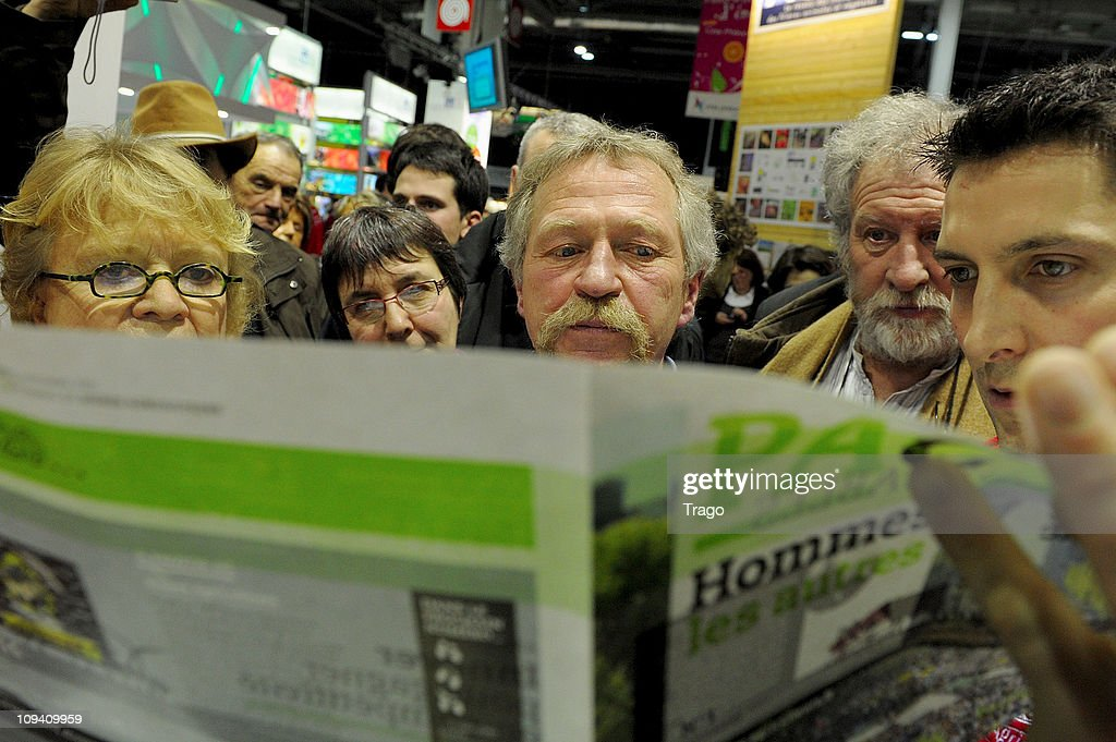 Members Parliament of 'Europe Ecologie' Eva Joly And Jose Bove Visit Salon de l'Agriculture
