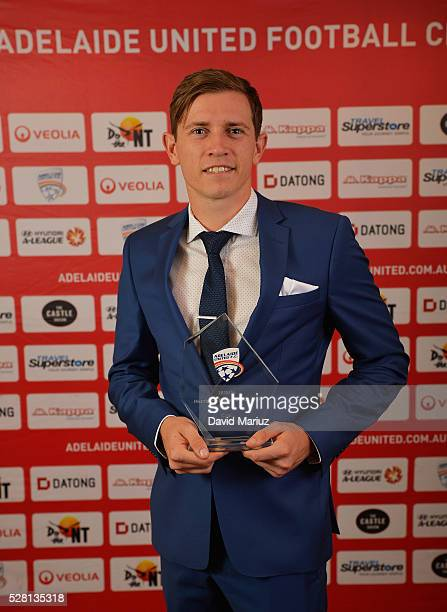 Members�� Player of the Year Award Craig Goodwin during the 2016 Adelaide United Awards Night on May 4 2016 in Adelaide Australia