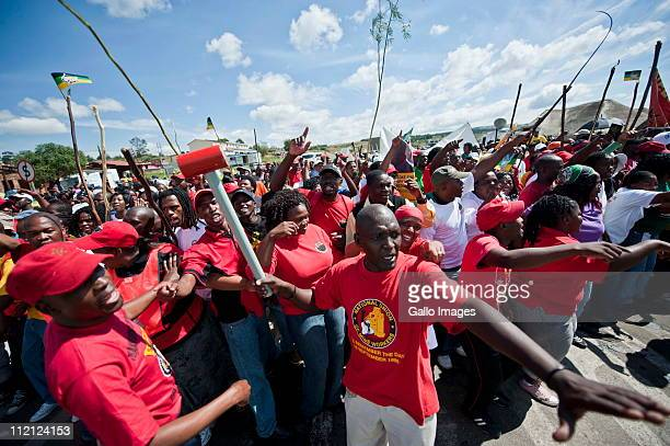 Members protesting at the Oshoek border between South Africa and Swaziland in support of the anti-monarchy protests taking place in the country on...