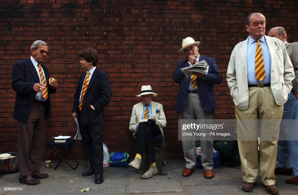 MCC members queue outside the gates at Lord's cricket ground