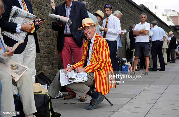 Members queueing outside Lords before day three of the 2nd Investec Ashes Test between England and Australia at Lord's Cricket Ground in London, UK....