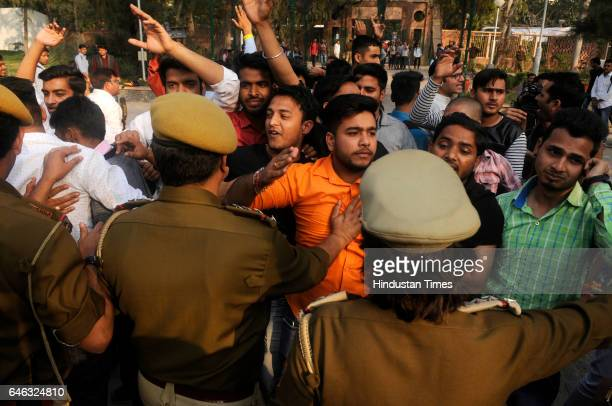ABVP members scuffle with police at the Faculty of Arts on February 28 2017 in New Delhi India The ABVP was accused of attacking students lecturers...
