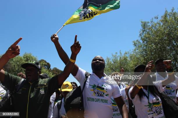 ANC members seen singing and dancing while one is raising a ANC flag during the 54th National Conference The African National Congress held its 54th...