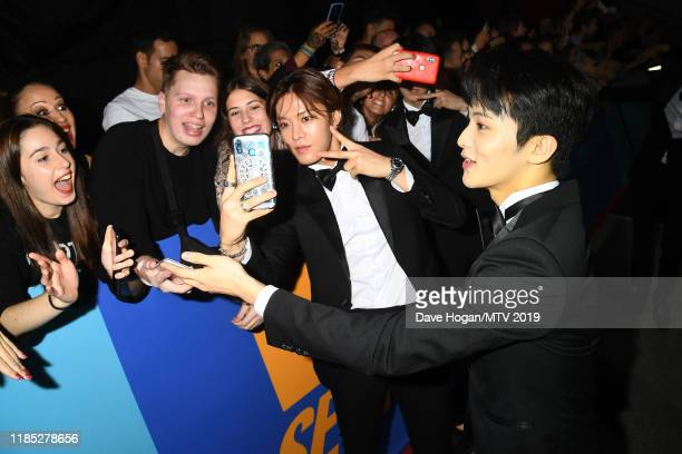Members Taeyong Yuta and Taeil attends the MTV EMAs 2019 at FIBES Conference and Exhibition Centre on November 03 2019 in Seville Spain