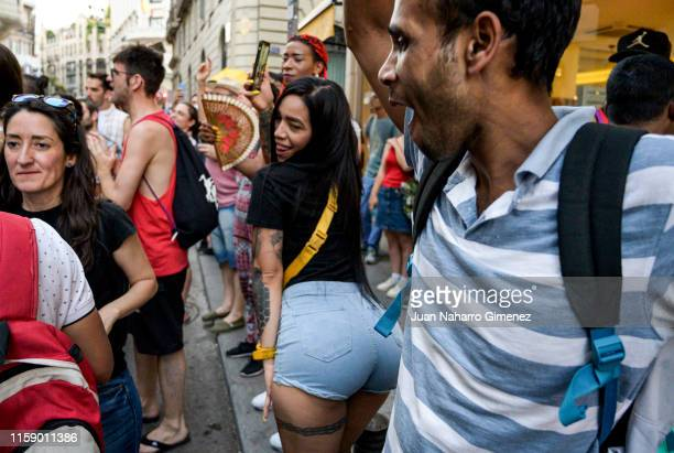 LGTB members take part in the 'Orgullo Crítico' demonstration in the centre of Madrid on June 28 2019 in Madrid Spain
