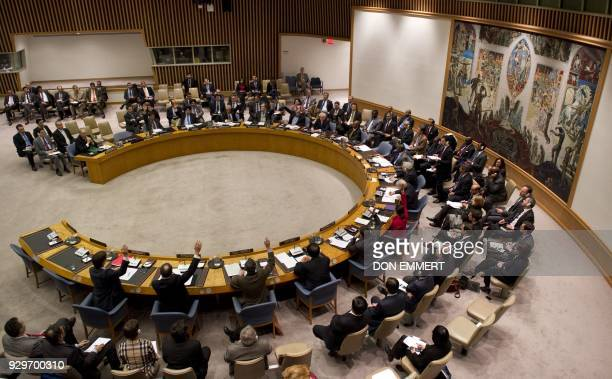Members vote on a resolution on Syria in the United Nations Security Council during a meeting on Syria February 4 2012 at the United Nations in New...