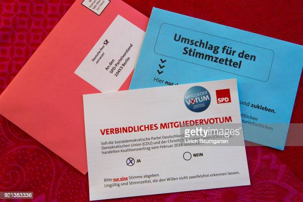 SPD members vote to form a grand coalition between the SPD and the CDU The picture shows the election ducuments with the ballot paper and the cross...