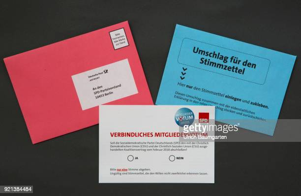 SPD members vote to form a grand coalition between the SPD and the CDU The picture shows the election ducuments with the ballot paper