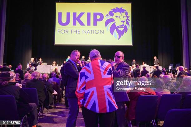 UKIP members wait for the count of the ballot papers during the UKIP ExtraOrdinary Leadership Meeting at the International Convention Centre on...