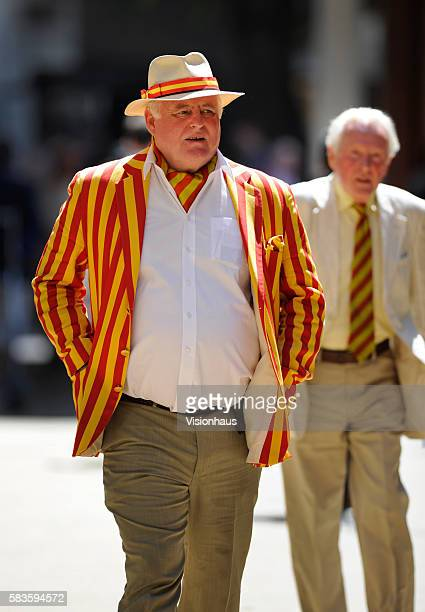 Members wearing the distinctive red and yellow on hats, blazers, ties and cravats during Day two of the 2nd Investec Ashes Test between England and...