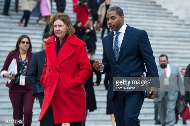 Memberselect Steven Horsford DNev and Ann Kirkpatrick DAriz are seen before the freshman class photo on the East Front of the Capitol on November 14...