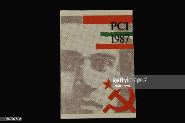 Membership card of the Partito Comunista Italiano with Antonio Gramsci shown at the exhibition for the 100th anniversary of the party's birth at the...