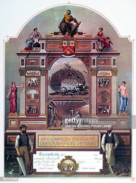 A membership certificate for the Amalgamated Society of Carpenters and Joiners The certificate incorporates the motto and coat of arms of the society...