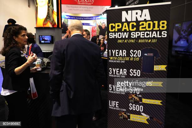 Membership specials for the National Rifle Association are available at the organization's booth inside the Conservative Political Action Conference...