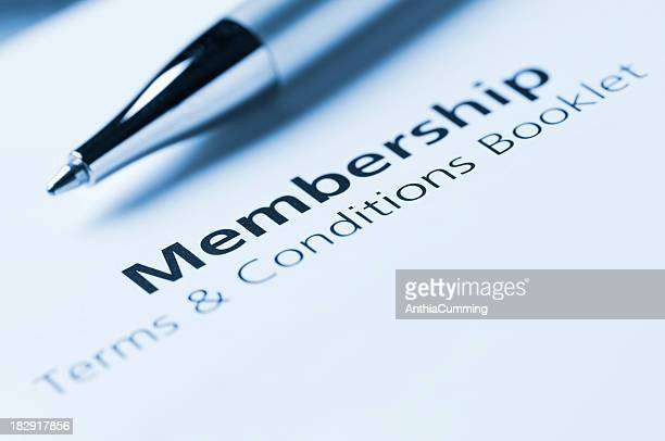 Membership terms and conditions with silver pen