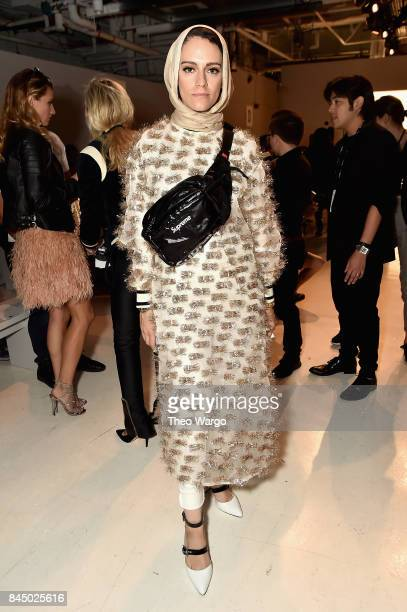 Meme Biltagi attends the Julianna Bass fashion show during New York Fashion Week The Shows at Gallery 3 Skylight Clarkson Sq on September 9 2017 in...