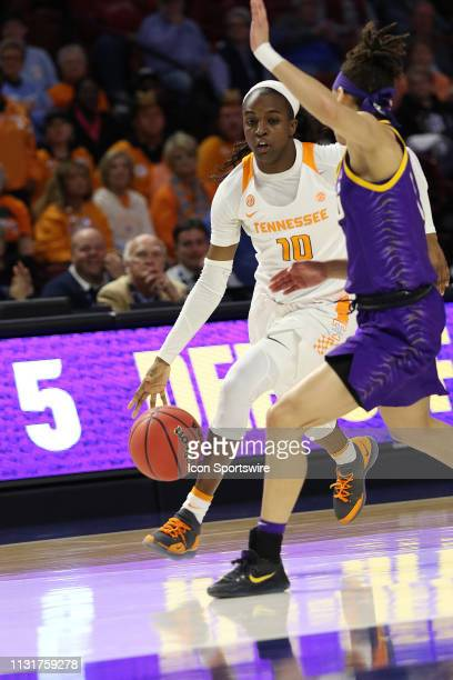 Meme Jackson guard of Tennessee during the SEC Women's basketball tournament between the LSU Tigers and the Tennessee Volunteers on March 7 at the...