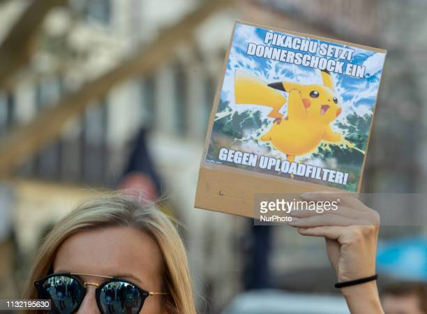 Meme with Pikachu More than 40000 people joined the Save Your Internet demonstration in Munich on 2332019 The protestors demonstrated against against...